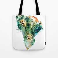 wildlife Tote Bags featuring African Wildlife by RIZA PEKER