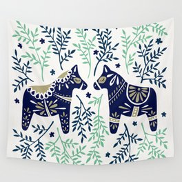 Swedish Dala Horse – Navy & Mint Palette Wall Tapestry