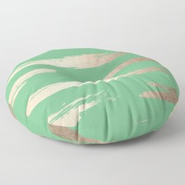 Abstract Paint Stripes Gold Tropical Green Floor Pillow