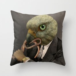EARLIE BYRD GETS THE WORM Throw Pillow