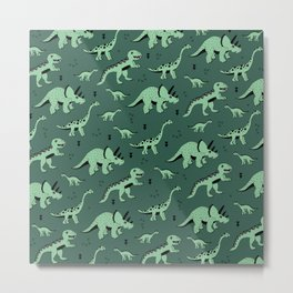Dinosaur jungle love quirky creatures illustration Metal Print