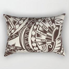 Hawaiian - Samoan - Polynesian Charcoal Brown Tribal Tattoos Rectangular Pillow