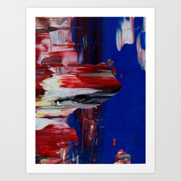 Blue Pillars on Red - Detail #2 Art Print
