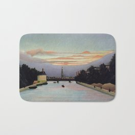 Sunset and Neon Lights at the The Eiffel Tower, Paris, France by Henri Rousseau Bath Mat
