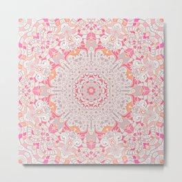 BOHO SUMMER JOURNEY MANDALA - PASTEL ROSE PINK Metal Print