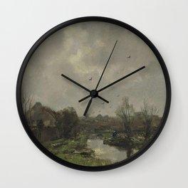 Jacob Maris - Landschap in de omgeving van Den Haag Wall Clock