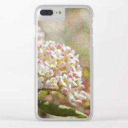 Vintage Inspired Pink and White Woodland Flowers with French Script Clear iPhone Case
