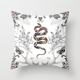 Rose Gold Snake Throw Pillow