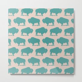 Buffalo Bison Pattern Turquoise and Beige Metal Print