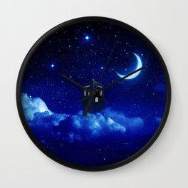 Tardis in Cloud Starry Night Wall Clock