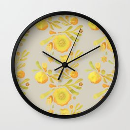 Granada Floral in Yellow on grey Wall Clock