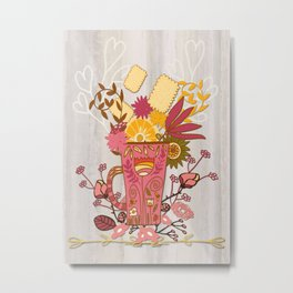 Time For Tea With Friends Series: Floral Tea 1 Metal Print