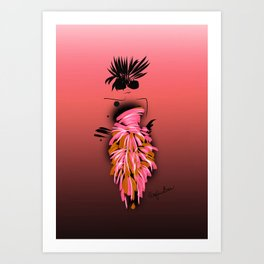 Fashion model looking cool and chic in coral silk couture Art Print