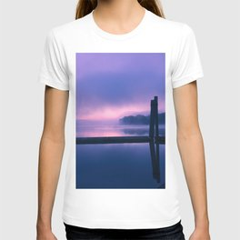 Serene Purple and Pink Waterfront Sunrise Landscape T-shirt