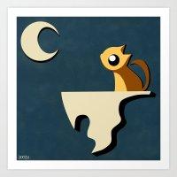 Kitty and Moon Art Print
