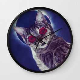 spaced out cat Wall Clock