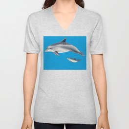Bottlenose dolphin blue background Unisex V-Neck
