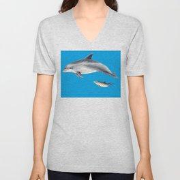 Bottlenose dolphin blue background Unisex V-Neck