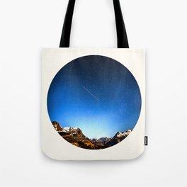 Mid Century Modern Round Circle Photo Minimalist Mountain Range Blue Sky Tote Bag