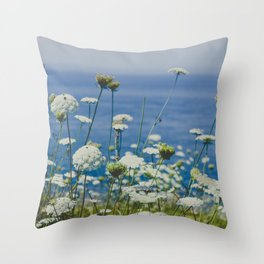 Flowers by the Beautiful Blue Sea Throw Pillow
