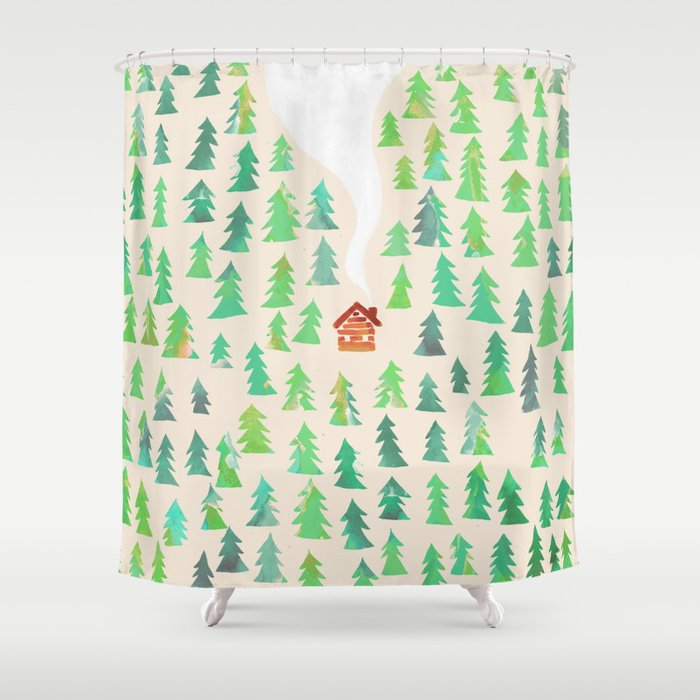 Alone In The Woods Shower Curtain By Budikwan