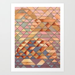 Triangles Circles Golden Sun Art Print