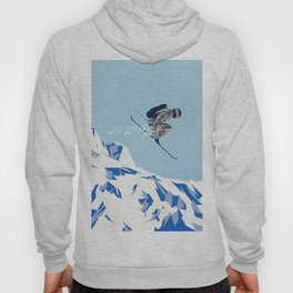 Airborn Skier Flying Down the Ski Slopes Hoody