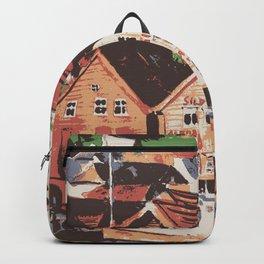 Old warf of Bergen Norway Backpack