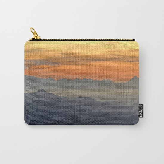 Mountains. Foggy sunset Carry-All Pouch