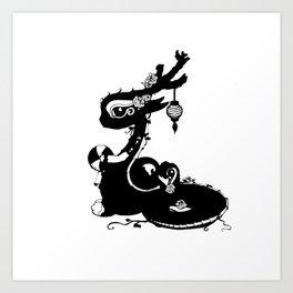 Dragons and Roses Art Print