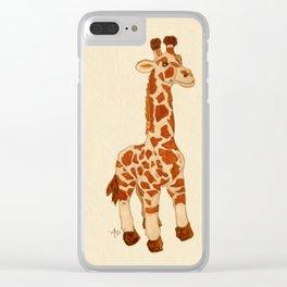 Cuddly Giraffe Watercolor Clear iPhone Case