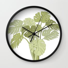 My Monstera Greens Wall Clock