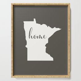 Minnesota is Home - White on Charcoal Serving Tray