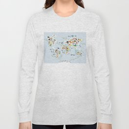 Cartoon animal world map for children and kids, Animals from all over the world, back to school Long Sleeve T-shirt
