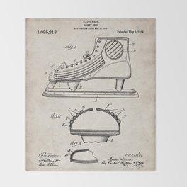 Ice Hockey Skates Patent - Ice Skates Art - Antique Throw Blanket