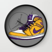 lakers Wall Clocks featuring Jordan 1 mid (LA Lakers) by Pancho the Macho