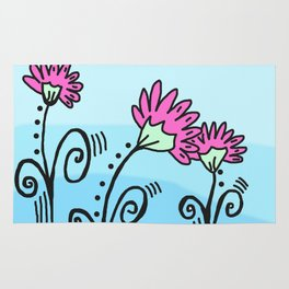 Three Spring Flowers - Blue Rug