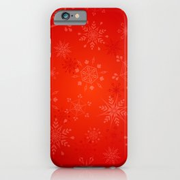 Christmas Gold Snowflakes on Red Background iPhone Case