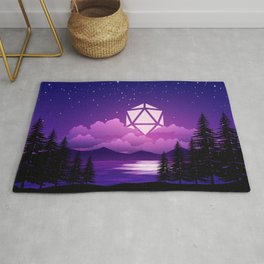 D20 Dice Moon Over Clouds Purple Night Tabletop RPG Landscape Rug