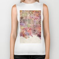 los angeles Biker Tanks featuring Los angeles by MapMapMaps.Watercolors