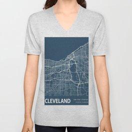 Cleveland Blueprint Street Map, Cleveland Colour Map Prints Unisex V-Neck