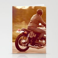 cafe racer Stationery Cards featuring Vintage cafe racer by gabyjalbert