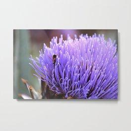 Bee and Artichoke Blossom Metal Print