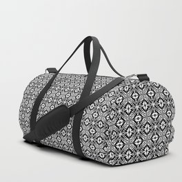 Moroccan Tile Pattern in Black and White Duffle Bag