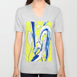 Plant in Blue Marker - Leaf of Life Miracle Leaf - Yellow Unisex V-Neck