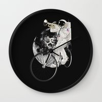 louis armstrong Wall Clocks featuring armstrong by mauro mondin