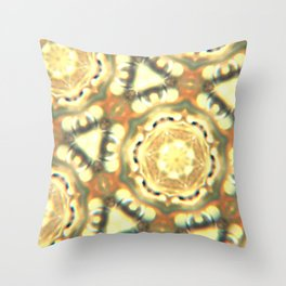 1970's Beige and Yellow Hexagon Pattern Throw Pillow
