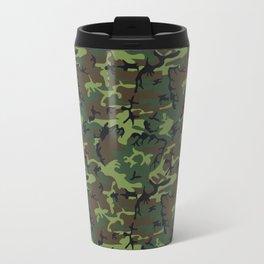 Dark Green, Light Green, Brown Camouflage Travel Mug