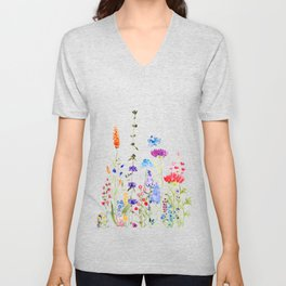 colorful wild flowers watercolor painting Unisex V-Neck
