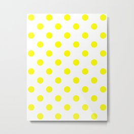 Polka Dots - Yellow on White Metal Print